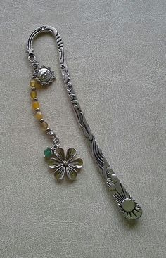 Tibetan silver bookmark with charms and beads - Sun and Flowers