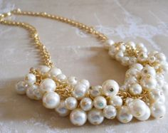 Gold Bridal Jewelry, Pearl Cluster Necklace, Bridesmaid Pearl Necklace, Chunky Pearl Jewelry, Weddings, Necklaces, Bridesmaids Jewelry