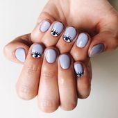 nails 50 Stylish Evil Eye Nail Art Designs For Halloween Grey Acrylic Nails, White Tip Nails, Cute Nail Art Designs, Short Nail Designs, Evil Eye Nails, Short Nails, Nail Tips, Art Blog, Cute Nails