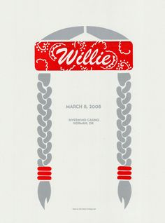 Extremely iconic poster concept for Willie Nelson, using his staple paisley red bandana--wonderful contrast with the white background--and perfectly braided hair to draw the viewer in. All text is used sparingly, giving the viewer all that they need: the performer's name, performance location, and date.