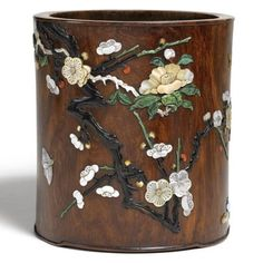 An inlaid Huanghuali brushpot. Qing dynasty, 17th/18th century➕More Pins Like This At FOSTERGINGER @ Pinterest✖️