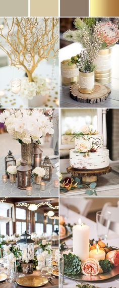 elegant and chic rustic gold metallic wedding color ideas