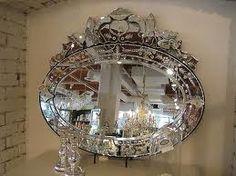 Horizontal oval Venitian mirror