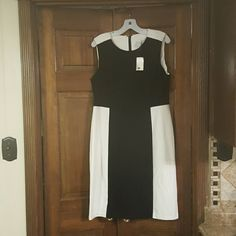Chico's dress Black and white color block poloyster spandex dress. Chico's Dresses