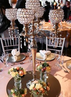 80cm Tall Crystal Table Centerpiece Gold Flower Stand Wedding Props Elegant In Style Home & Garden