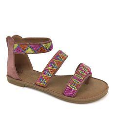 Off-Pink Beaded Kenya Sandal