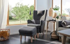 OMTÄNKSAM Armchair - Gunnared dark gray - IKEA Cushions, Seat Cushions, Living Room Chairs, Ikea Catalog, Love Seat, Ikea, Armchair, Upholstery, Footstool
