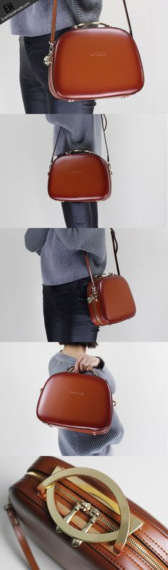 Leather handbag shoulder bag brown red for women leather