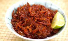 Sambal Ikan Bilis: Malaysian anchovies in a spicy sauce.