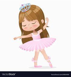 Cute small brown hair girl ballerina dance vector image on VectorStock Ballerina Illustration, Princess Illustration, Ballerina Drawing, Ballerina Cartoon, Little Girl Ballerina, Dance Vector, Kids Cartoon Characters, Ballet Images, Girl With Brown Hair