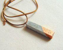 Concrete Stick Necklace,Geometric Concrete pendant, Bar Pendant,