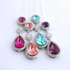 Colorful Swarovski Necklaces - Bridal and Bridesmaid Jewelry