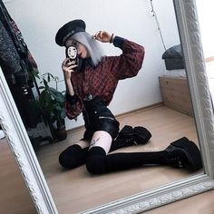 Get this look: More looks by Kimi Peri: lb. - Zane Č - Sockenfurfrauen Edgy Outfits, Grunge Outfits, Cute Outfits, Fashion Outfits, Womens Fashion, Gothic Outfits, Very Skinny Girls, Beret Outfit, Punk