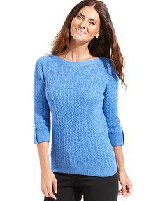 Karen Scott Marl Sweater, Three-Quarter-Sleeve Cable-Knit