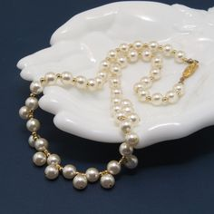 Vintage Double Front Band Faux Pearl Necklace