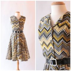 1960's yellow and black cotton dress with bold by SchoolofVintage, $58.00