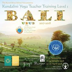** Sat Naam!** The first Kundalini Yoga Teacher Training Level 1 from the Karam Kriya School on Bali was completed May 2017, and it was a great success! A versatile and committed group of students from Australia/Bali, Russia/Bali, Thailand, Norway/South-Korea and the Philippenes participated. We feel very blessed to have been able to share these teachings with such an international group in such an amazing location as the Wu Wei Wisdom Sanctuary on Bali!  THE NEW TRAINING WILL START 8…