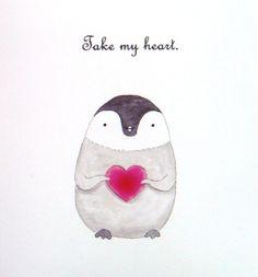 Baby Penguin Illustration Print Red Heart Home Wall Decor Cute Nursery Art 4x6. $8.99, via Etsy.  https://www.etsy.com/listing/122050283/penguin-love-illustration-print-cute?ref=shop_home_active_23