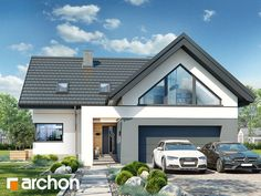 gotowy projekt Dom w jaskierkach 2 Modern Bungalow Exterior, Modern Bungalow House, Bungalow House Plans, Dream House Plans, Small Rustic House, Modern Family House, Modern House Plans, Village House Design, House Front Design
