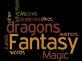 Display of the Fantasy genre created with Wordle.