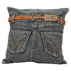 """Reclaimed denim pillow with a jeans-inspired design.  Product: PillowConstruction Material: Denim and fillingColor: Blue Features: Insert included Dimensions: 17.7"""" x 17.7"""""""
