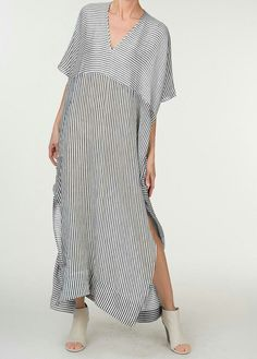Dresses,Casual Dress,V neck White Women Striped Loose Slit Casual Dress,TESTW 2019 - summer wedding dresses casual dress for wedding casual shoes dress casual dress casual outfits dress smart casual - hashcats} - Cocktail Dress Summer 2019 Simple Dresses, Casual Dresses, Summer Dresses, Mode Style, Style Me, Moda Hijab, Sewing Dress, Boho Fashion, Womens Fashion