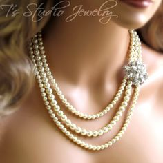 CAROLYN Long Pearl Bridal Necklace from T's Studio Jewelry