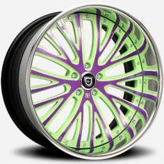 green and purple rims | Lexani LT-713 Green and Purple with Chrome Lip