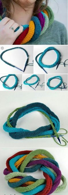 Unusual knit scarf or how to use it - plete .- Ungewöhnlicher Strickschal oder wie man ihn benutzt – pleteníčko – … Unusual knit scarf or how to use it – pleteníčko – … – Knit – - Chunky Knitting Patterns, Knitting Kits, Loom Knitting, Knitting Stitches, Knit Patterns, Free Knitting, Knitting Projects, Knitting Ideas, Col Crochet