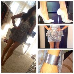 Kim Kardashian Sally Lapointe Peplum Print Dress, Casedei Heels & Celine Cuff