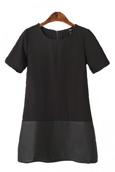Black PU Leather Splicing Round Neck Short Sleeve Dress