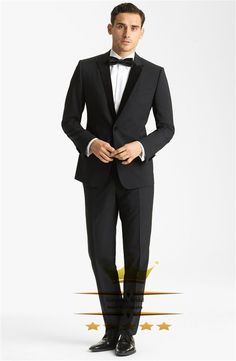 Find More Suits Information about Men Tuxedos Wedding Suits With Pants Black Peak Lapel One Button Custom Made Designs 2015 New Arrival (Jacket+Pants+Tie+)WY6473,High Quality Suits from Gorgeous_Bridal on Aliexpress.com