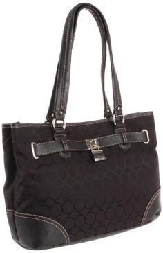 Nine West 9s Jacquard Per Satchel Handbag Black One Size