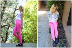 ♥ LOOK OF THE DAY 13-12-2012 ♥  ♥ Camisa de Gasa con Tachas en Cuello  ♥ Pink Legging  ♥ Fiona Black Creepers