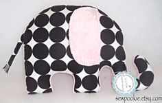 Black and White Polka Dot Elephant Nursery Pillow with Pink Ear | by SewPookie on etsy