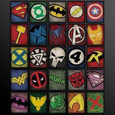 Set of 2 Superhero Kids Wall Art Decor Nursery Superman Batman Robin Comic Book Superheroes Spiderman Green Lantern Flash