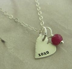 Heart XOXO Pendant  sterling silver and ruby by KathrynRiechert, $28.00