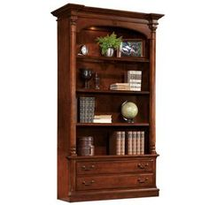 Hekman Home Office Weathered Cherry Executive Bookcase at Andrews Furniture at Andrews Furniture in Abilene, TX Cherry Bookcase, Hekman, Wood Bookshelves, Hekman Furniture, Bookcase, Glass Shelves, Parks Furniture, Wood Shelves, Wall Shelving Units