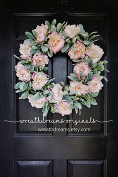 The delicate beauty of springtime lives on in this gorgeous Peony wreath for all seasons. Lifelike petals & lambs ears stems featuring a beautiful green color and a fuzzy realistic texture sends a year-round message of welcome.  PLEASE NOTE: The wreath pictured is a large 24 wreath. Number of peony blooms will vary depending on the wreath size ordered. Thank you.  ❤ All wreaths are handcrafted by me using natural grapevine wreaths & only the highest quality faux materials.  ❤ Grapevin...