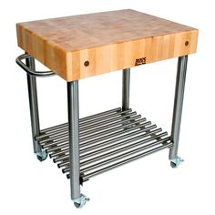 John Boos Cucina D'Amico Cart Beautiful, durable, and easy to maintain. That's three ways to describe John Boos's Cucina D'Amico Cart. This Butcher Block has a thick end grain top made of American Cherry. Being made of real wood Steel Furniture, Furniture Sale, Unique Furniture, Online Furniture, Kitchen Furniture, Butcher Block Kitchen Cart, Boos Butcher Block, Butcher Block Countertops, Butcher Blocks