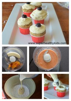 """Healthy cake made with fruit puree - no sugar or oils     1/2 cup sliced peaches (peeled)     1 banana = 1/2 cup fruit puree (from above) 1/2 cup buttermilk or 1/2 cup milk + 1 tablespoon lemon juice (let sit for 5 minutes to make """"buttermilk"""" 1 egg 1 teaspoon vanilla 1 cup whole wheat flour 1 tsp baking powder 1/4 tsp baking soda 1/4 tsp salt"""