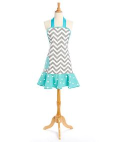 Love this Gray Chevron & Blue Polka Dot Apron - Adult on #zulily! #zulilyfinds