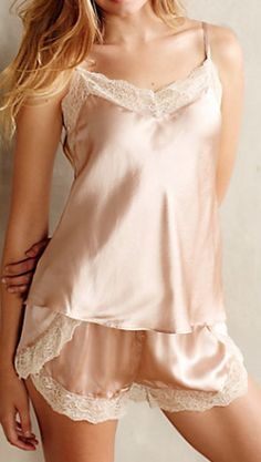 Blushed Silk Cami by Eloise. I love blush loungewear. It has such a vintage aesthetic. Classy Lingerie, Jolie Lingerie, Satin Lingerie, Pretty Lingerie, Beautiful Lingerie, Lingerie Sleepwear, Hot Lingerie, Nightwear, Couture Satin