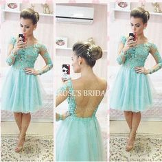 Turquoise Blue Lace Short Prom Dresses 2016 Long Sleeve Tulle Sexy Homecoming Dress Cheap Graduation Dresses Vestido De Festa