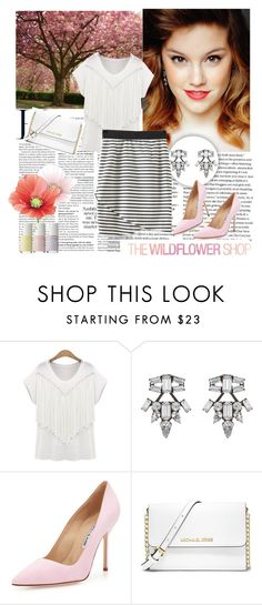 """""""THE WILDFLOWER SHOP 1"""" by car69 ❤ liked on Polyvore featuring DANNIJO, Manolo Blahnik and MICHAEL Michael Kors"""
