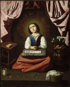 .:. The Young Virgin (c.1632-33).Francisco de Zurbarán (Spanish, 1598-1664). Met.According to medieval legend, the young Virgin Marylived as a girl in the Temple in Jerusalem, where she devoted herself to praying and sewing vestments. This was a popular subject, with the Virgin serving as a model of behavior for young women. The delicate modeling of the Virgin's face and the attention to the still-life elements, including the prayer book and the sewing, are characteristic of Zur...