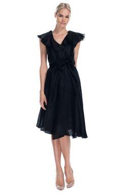 Vintage Halston Ruffled Wrap Dress, 100% silk.