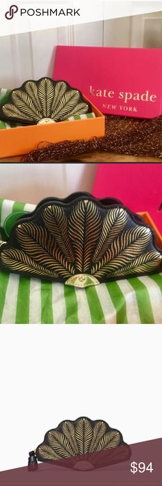"NWT KATE SPADE ""Dress the Part Fan"" Coin Purse This cute and quirky Kate Spade coin purse is the ""Dress the Part Fan"" style. Sold out.  Pebbled faux leather with cross hatched leather trim that looks like feathers. Quick and curious lining. 14kt gold plated hardware.  Measures 3.5 inches in height, 5.5 inches wide and 0.4 inches in depth. Style #pwru5126.  NWT. Never used. Bought at Kate Spade. Debut in September 2016. Box included. kate spade Bags"
