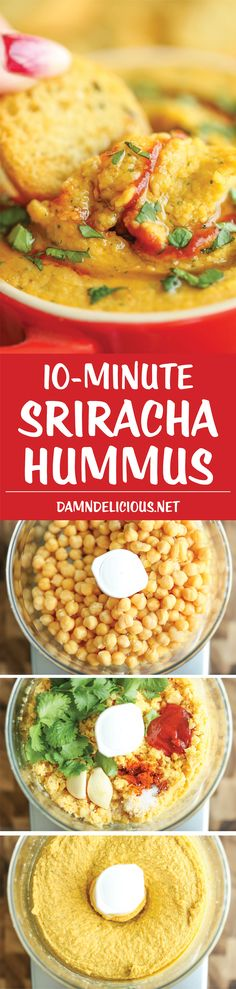 Sriracha Hummus - Quick, healthy and super easy to make in just 10 min from start to finish! So creamy, velvety and rich - way better than store-bought! Yummy Snacks, Healthy Snacks, Healthy Eating, Healthy Hummus, Vegetarian Recipes, Cooking Recipes, Healthy Recipes, Pesto, Sauces