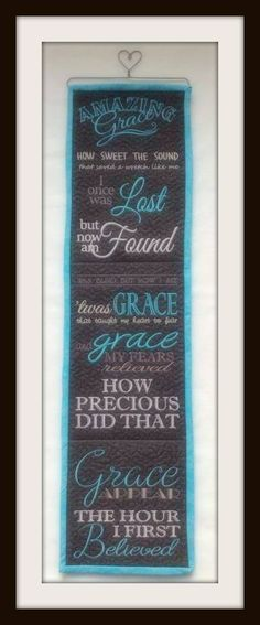 """""""Amazing Grace"""" is a Christian hymn published in 1779, with words written by the English poet and clergyman John Newton (1725–1807). Bring this beautiful hymn to life as a subway styled art piece for hanging on your wall. The perfect gift for a new home too!  Design fits the 5x7 hoop size. Ten panels are stitched to create this wall hanging. Machine formats included: DST, EXP, PES, JEF, HUS, PES, SHV, VIP, VP3, XXX Color charts and complete instructions included.*Design was lovingly…"""